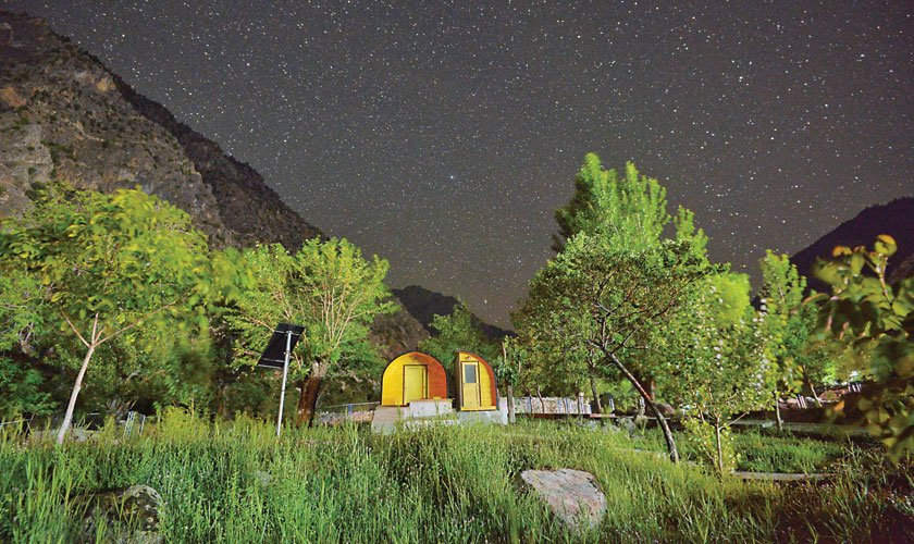The newly-built pods amid a starry night