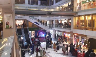 Inside a shopping mall
