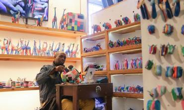 Sustainable art from flip flops