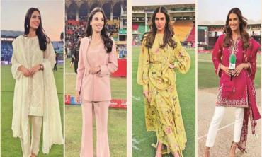 Flash Your Style! Zainab Abbas and Erin Holland in Sania Maskatiya at PSL 2020
