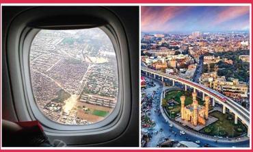 Plane ride over Lahore