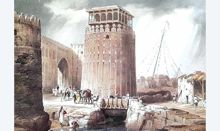 The Round Tower of Hyderabad Fort in William Edwardss Sketches in Scinde, London 1846.