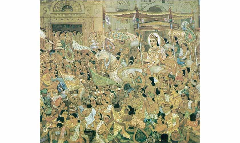 Mahavira leaving his palace.