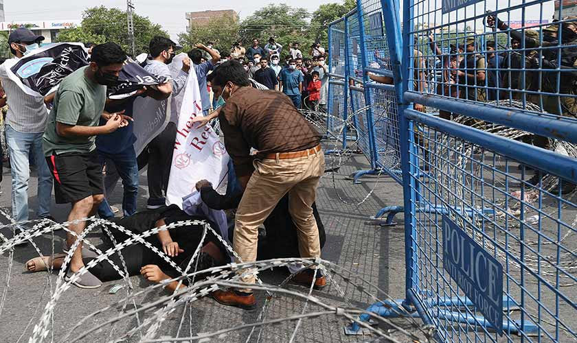 Many young doctors were injured as police resorted to baton-charge.