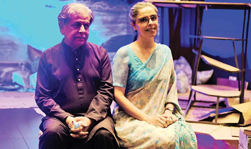 Playwright Bee Gul with Director Khalid Ahmed.