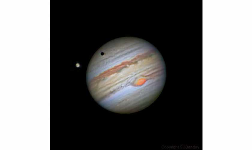 A solar eclipse on Jupiter as well as the Great Red Spot, both visible at the same time. Photo courtesy: Shoaib Usman.