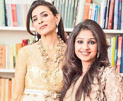 Karachi's Layla Chatoor with Lahore designer Mashaal Moazzam