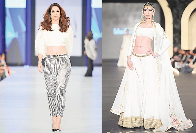 Cybil Chowdhry (in Feeha Jamshed) is as fresh as she was when she stepped onto the catwalk more than a decade ago and Nooray Bhatti (in Fahad Hussayn) may also have experience under her belt but she is looking better than ever!