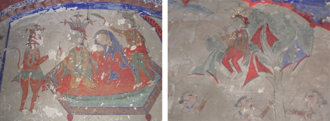 Hanuman paying regards to Ram and Sita (left) and fresco depicts Krishna with his Gopis (right).