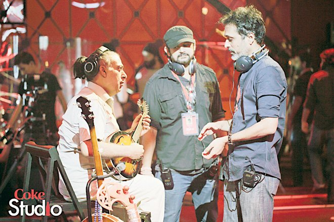 Some  brand new strings in the studio: Faisal Kapadia and Bilal Maqsood step in as Producers of Coke Studio, seen here with Ustad Tanveer Hussain.