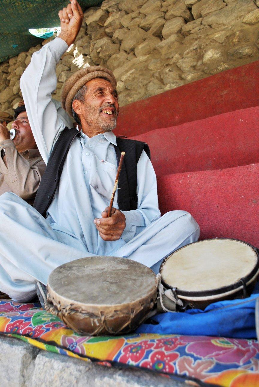 Mominabad Kettledrum Player. -- Photo by Ghazi Karim