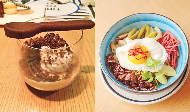 At Cafe Chatterbox the Rice Bowl with Spicy Beef comes with a fried egg and the Caramel Budino with a chocolate spoon!