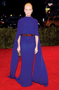 Stella mccartney Capes have been on the international style horizon for almost two years now. It's a trend endorsed by many foreign celebrities like Cameron Diaz, who turned up in a royal blue Stella McCartney cape at the Met Gala in New York last year. This body-hugging cape was the key trend of the outfit and it may have appeared too modest for the usually risqué star but the very ominous spiked belt, which she wore it with made up for any lack of controversy in her outfit. Critics compared this belt to a chastity belt; it was so sharp that it kept people at a safe distance!