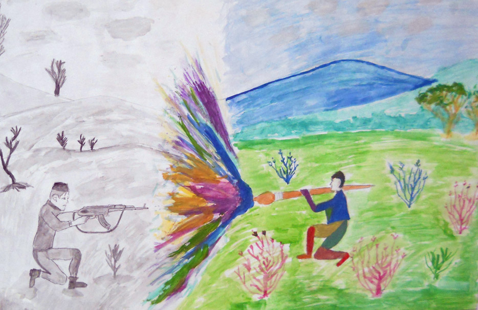 Drawings by young children reflect their hopes for peace and an end to the rule of guns.