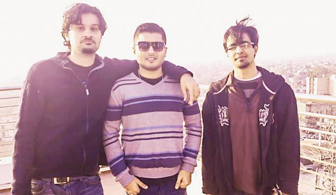 (Left to right) Nadir Shehzad Khan with fellow music cohorts, Shajie Hassan and Ali Suhail