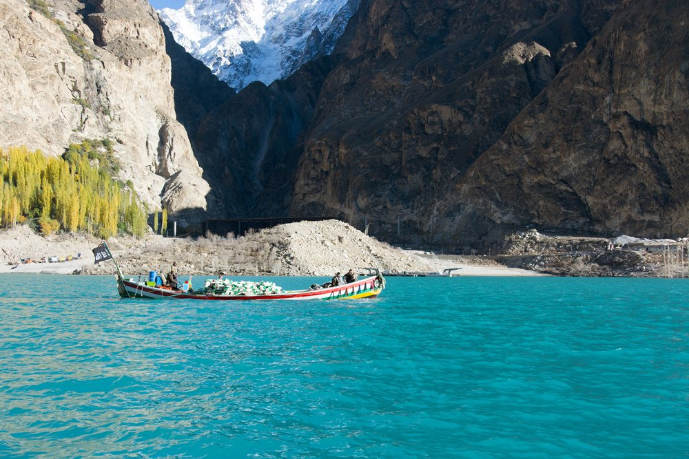 Boat in Attaabad Lake in Hunza
