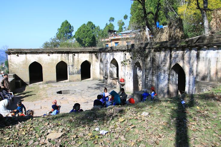 School in progress in the Rani's Baoli. The rani's room is in the background with the utility rooms on right.