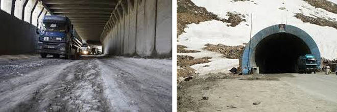 Inside and outside of Salang Tunnel.