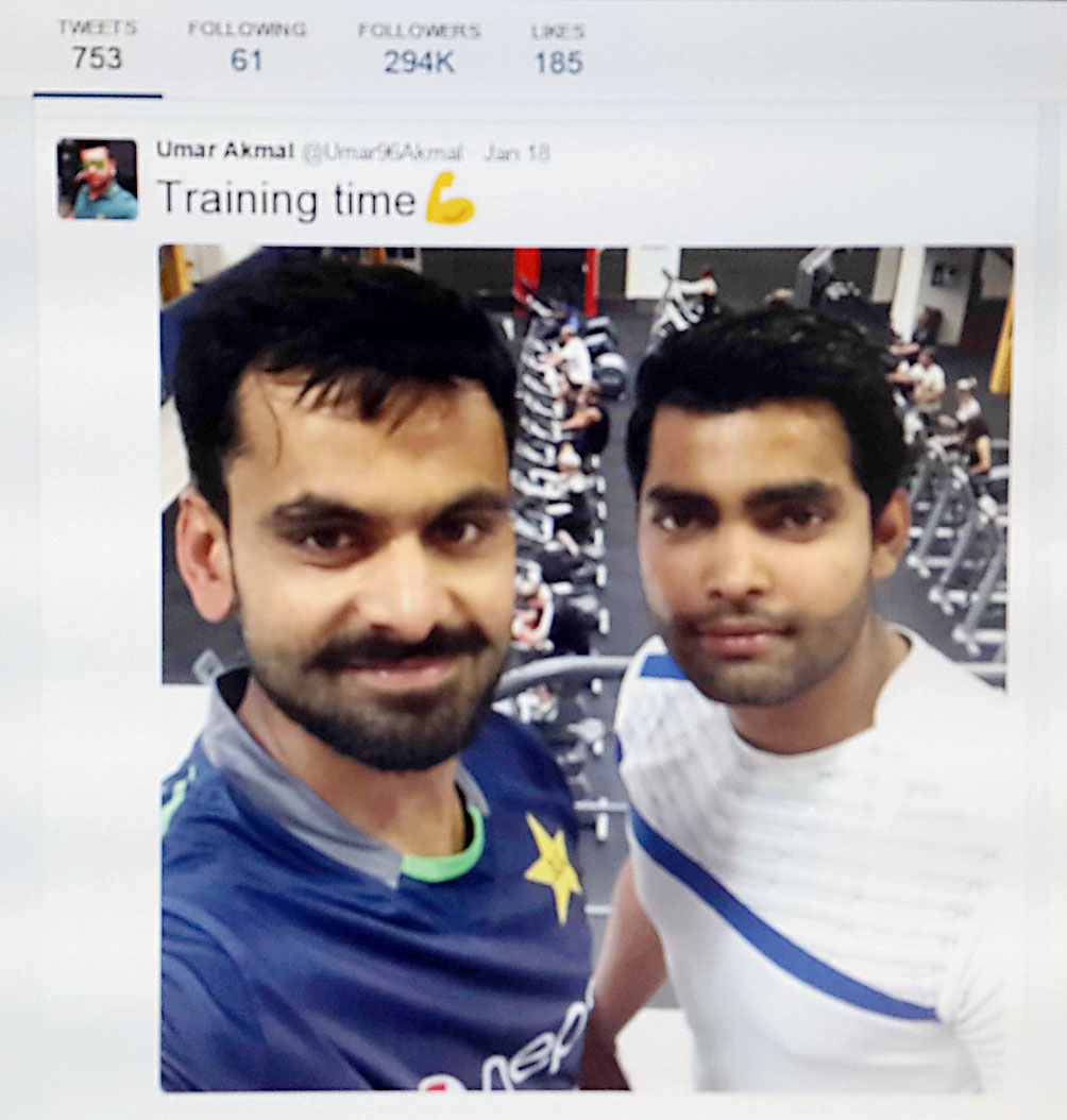 SELFIE FIRST: This is the selfie Umar Akmal posted three hours after Waqar's ordered timeout