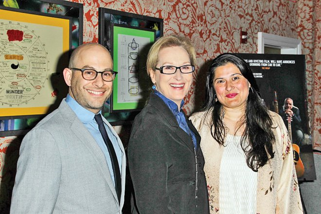 Andy Schocken, Meryl Streep and Sharmeen Obaid Chinoy at the screening of Song of Lahore in New York City, circa 2015.