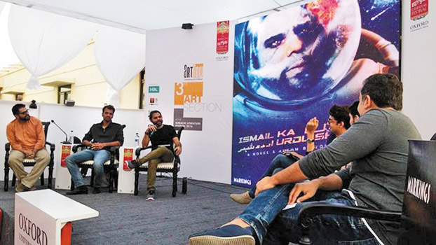 The Ismail Ka Urdu Sheher panel (featuring Omran Shafique, Saad, Zohaib Kazi, Abbas Ali Khan and Kamal Khan) spoke to moderator Ali Safina about the various themes (such as space, science, philosophy) that can be found in this one-of-a-kind book-music album.