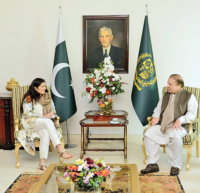 PM Nawaz Sharif met Sharmeen Obaid Chinoy at the Prime Minister House in Islamabad earlier this month.