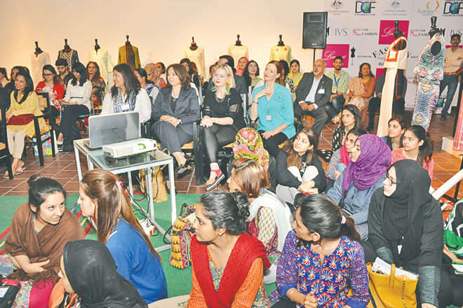 instepreport The Australian Fashion Masterclass, spearheaded by Heidi Phillips (centre), was attended by members of the fashion fraternity, including Sania Maskatiya, Tena Durrani and Adnan Pardesy, along with other SME designers.