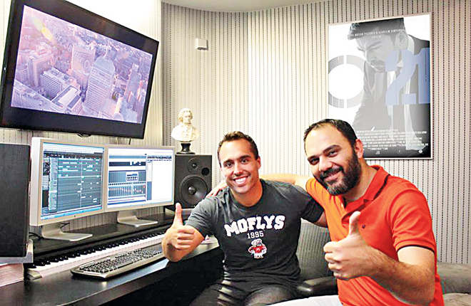 Alfonso Gonzalez Aguilar and director Jami, in a Madrid-based studio, working on the musical score of Operation O21.