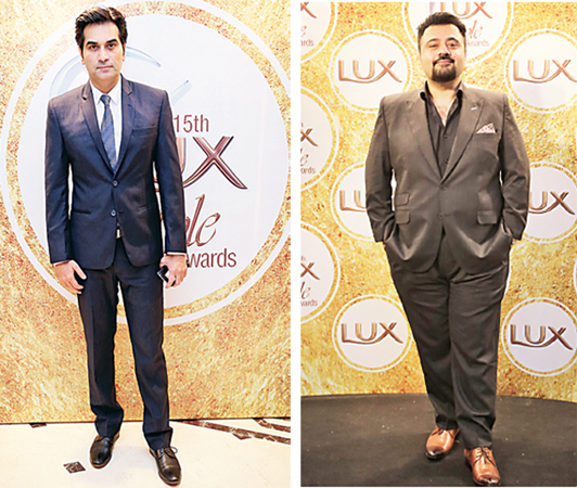 Dapper affair: Actors Humayun Saeed and Ahmed Ali Butt, stars of last year's hit flick Jawani Phir Nahi Ani and Best Actor (Film) nominees, strike a pose. JPNA has picked up a total of 9 LSA nominations this year including one for Best Film.