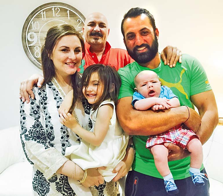 FAMILY TIME: Carla poses for the camera along with her father Wasil, husband Shahbaz Khan, daughter Safiya and son Musa. These days she devotes most of her time to her family.