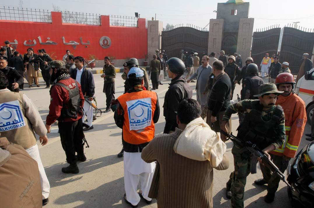 Police searching students: Bacha Khan University.