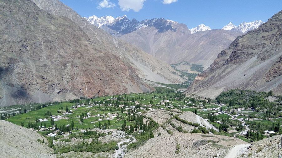 Valley with houses at Chitral.