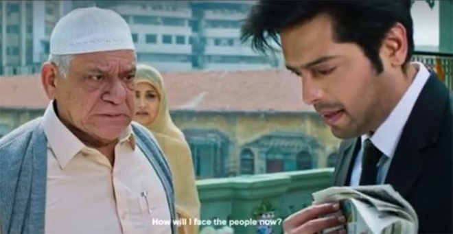 Om Puri and Fahad Mustafa in Actor in Law.