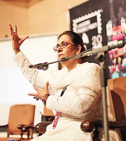 Tina Sani speaking at the Lahore Music Meet, circa 2016.