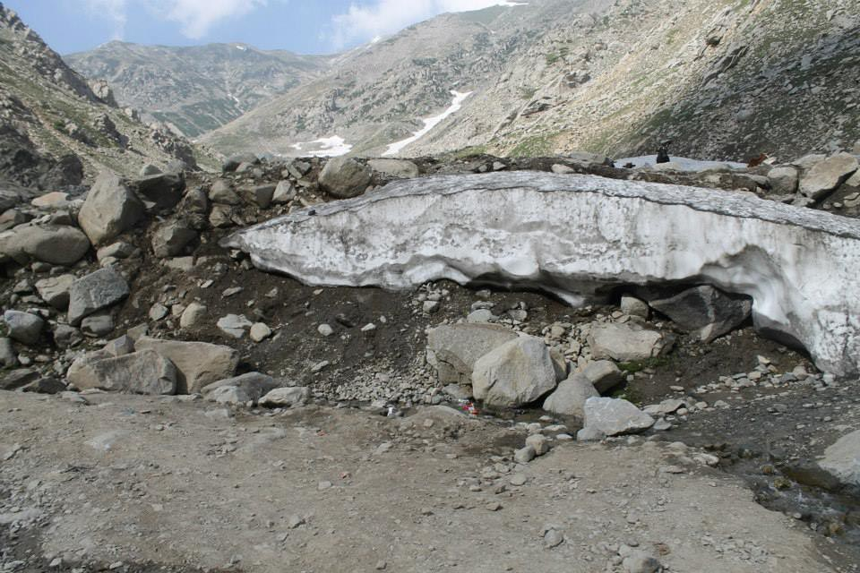 Remnants of glaciers from previous winter surviving to the far end of summer.
