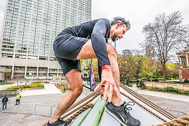 Ali Kazmi during a race in Toronto called Concrete Rush (2km) that has 15 obstacles designed by the British Special Forces.
