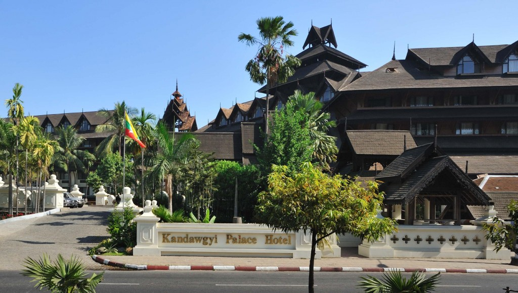 The majestic Kandawgyi Palace Hotel situated on the banks of the Royal Lake