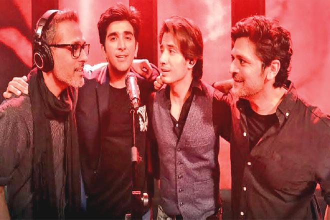 Bilal Maqsood, Ali Hamza, Ali Zafar and Faisal Kapadia came together on Coke Studio 10 during the finale episode to pay a beautiful tribute to Junaid Jamshed. A historic collaboration featuring two different generations of music, it is both an ode to a voice that we will always remember and a positive message in a time where the industry is divided by cola wars.