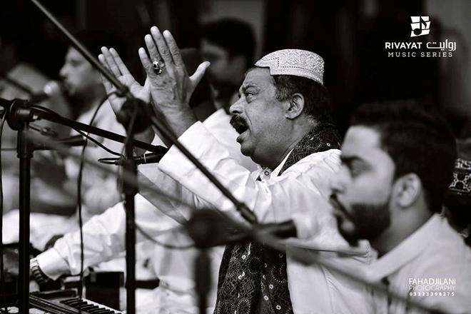 Farid Ayaz performing at the Rivayat Music Series