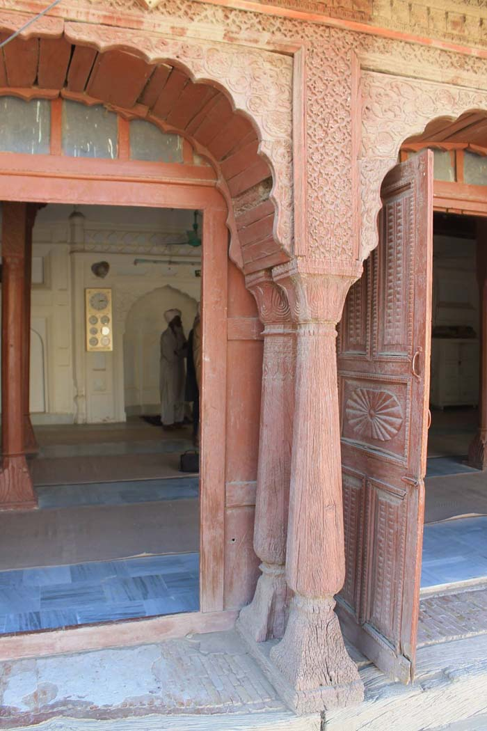 The view of the double pillars, surviving till date in Gandi Umar Khan.