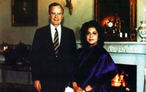 Wajid-Abida Hussain with US President George Bush in 1992