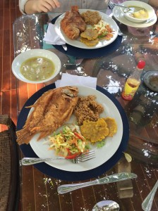 Red snapper and plantains at the beach.