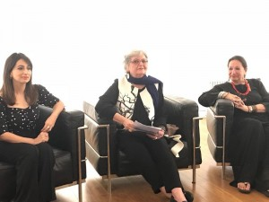 Saba Qizilbash, Salima Hashmi and Shehnaz Ismail at the panel discussion. Photo: Talha Rathore.