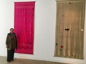 Priya Ravish Mehra and Shehnaz Ismail, I will meet you yet again: Shehnaz Ismail with the mended shawls. Photo: Beena Sarwar