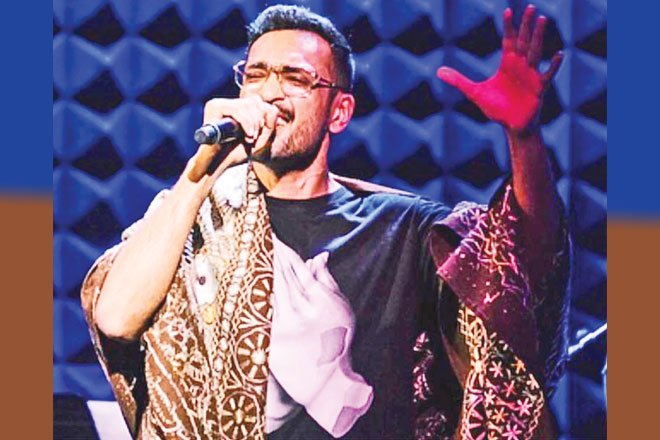 Ali Sethi, playing with his experimental group Resident Alien, at Joe's Pub in New York City, circa 2018.