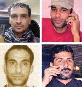 Clockwise from top right:  Ghaffar Zikri (Killed in 2018), Baba Ladla (killed in 2017), Rehman Dakait (killed in 2009) Uzair Baloch (under custody).