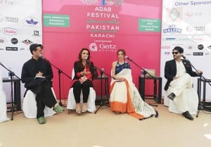Sarwat Gilani, Fahad Mirza and Shafat Ali in conversation with journalist-turned-author Maheen Usmani.
