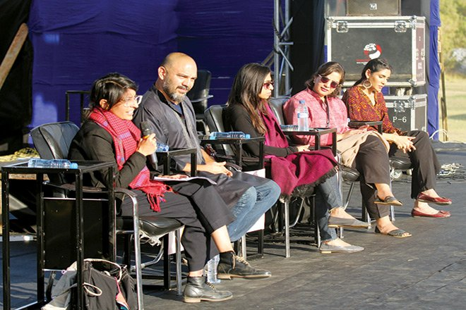 Panel session featuring Jami, Hamna Zubair, Sanam Maher, Zhalay Sarhadi and moderator Rahma Mian.