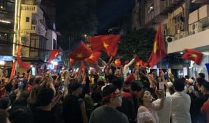 Celebrations on the street for a football victory.