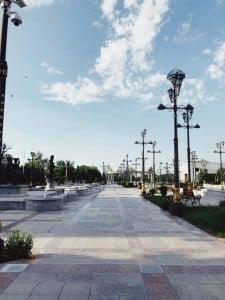 Streetlamps in a park: Ashgabat.